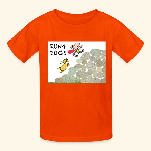 Dog chasing kid - Kids' T-Shirt
