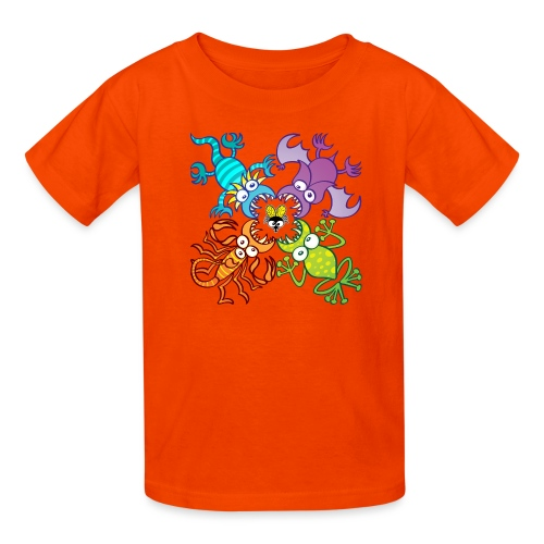 Bat, lizard, scorpion and frog stalking a poor fly - Kids' T-Shirt
