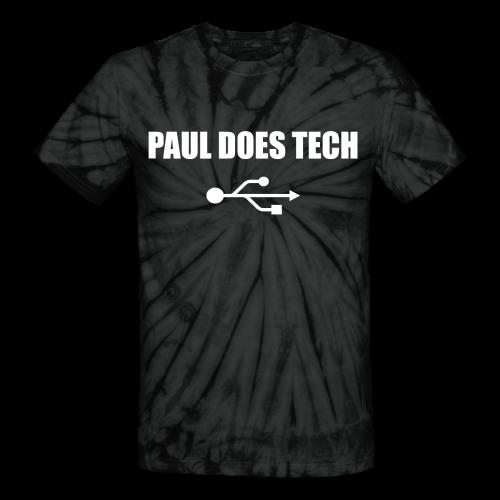 Paul Does Tech White Logo With USB - Unisex Tie Dye T-Shirt