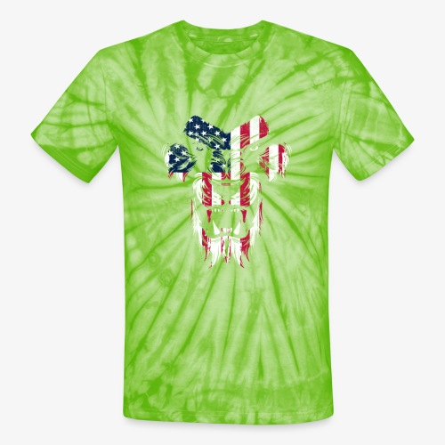 Lovely American Lion USA Flag Silhouette Portrait - Unisex Tie Dye T-Shirt