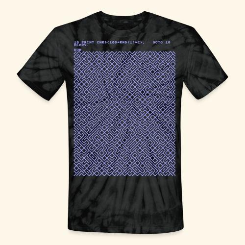 10 PRINT CHR$(205.5 RND(1)); : GOTO 10 - Unisex Tie Dye T-Shirt