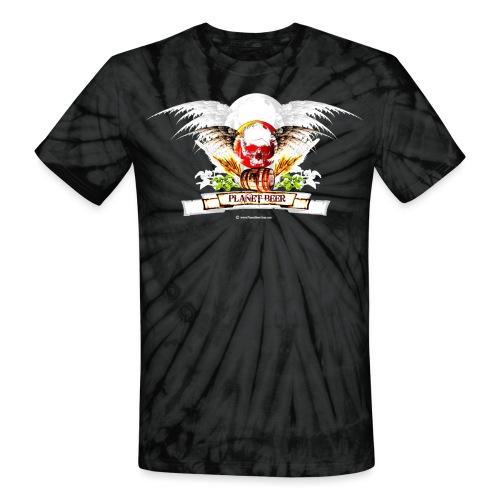 Planet Beer Skull & Keg Gothic 2 Tone - Unisex Tie Dye T-Shirt