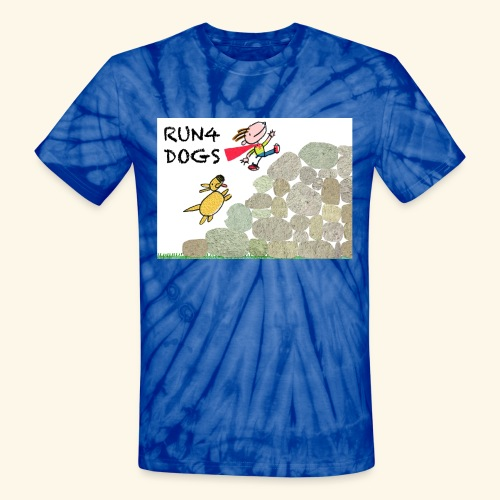 Dog chasing kid - Unisex Tie Dye T-Shirt