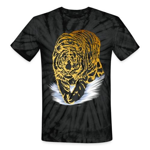 Golden Snow Tiger - Unisex Tie Dye T-Shirt