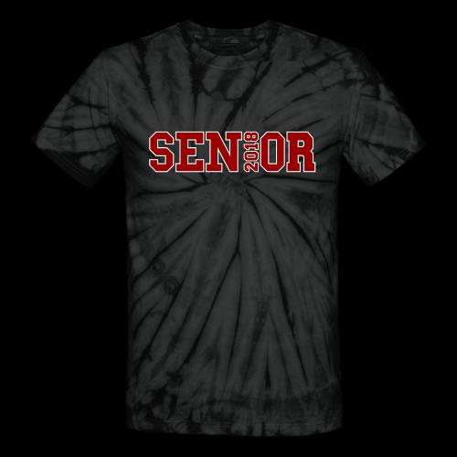 Red Senior White Outline - Unisex Tie Dye T-Shirt
