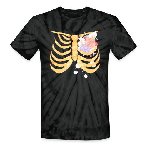 Pastel Goth Gold Rib Cage Shirt - Unisex Tie Dye T-Shirt
