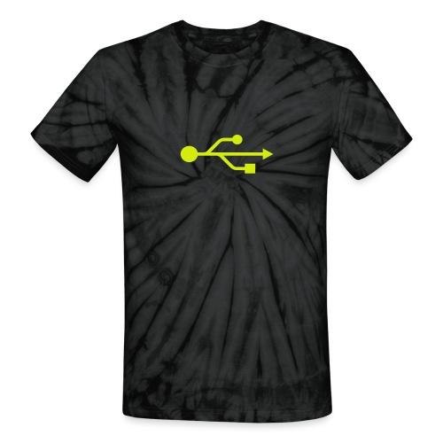 Yellow USB Logo Mid - Unisex Tie Dye T-Shirt
