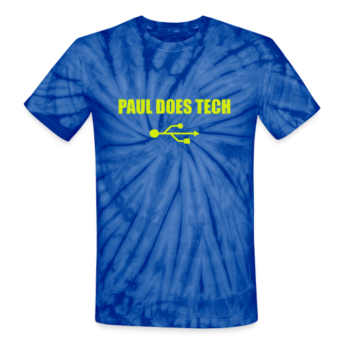 Paul Does Tech Logo Yellow With USB (BS) - Unisex Tie Dye T-Shirt