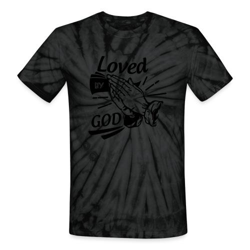 Loved By God (Black Letters) - Unisex Tie Dye T-Shirt