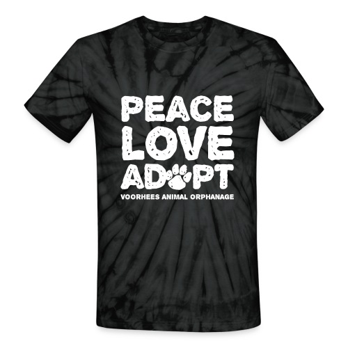 Peace Love Adopt Front png - Unisex Tie Dye T-Shirt
