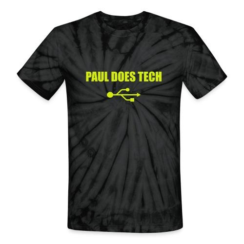 Paul Does Tech Yellow Logo With USB (MERCH) - Unisex Tie Dye T-Shirt