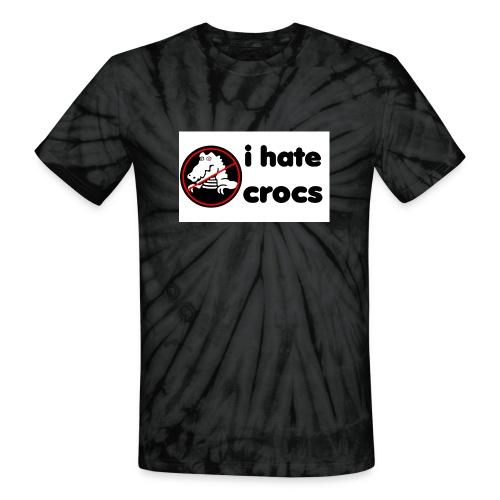 I Hate Crocs shirt - Unisex Tie Dye T-Shirt