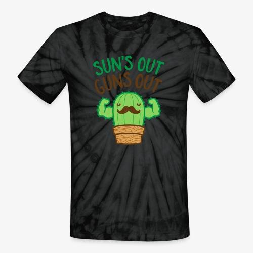 Sun's Out Guns Out Macho Cactus - Unisex Tie Dye T-Shirt