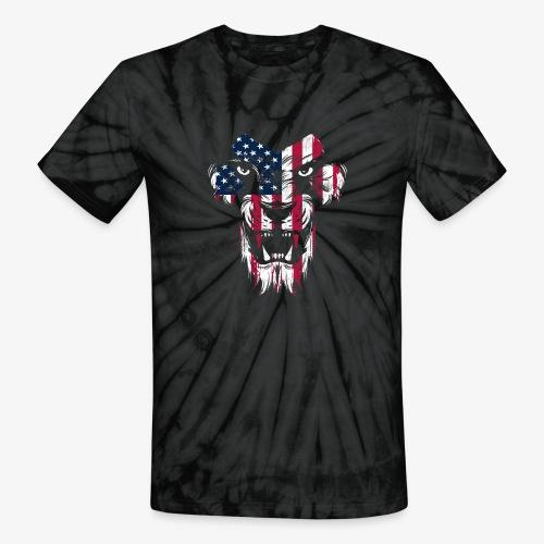 American Flag Lion - Unisex Tie Dye T-Shirt