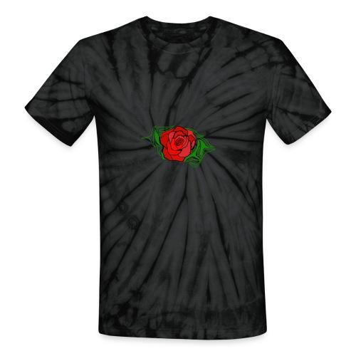 Simple Red Rose - Unisex Tie Dye T-Shirt