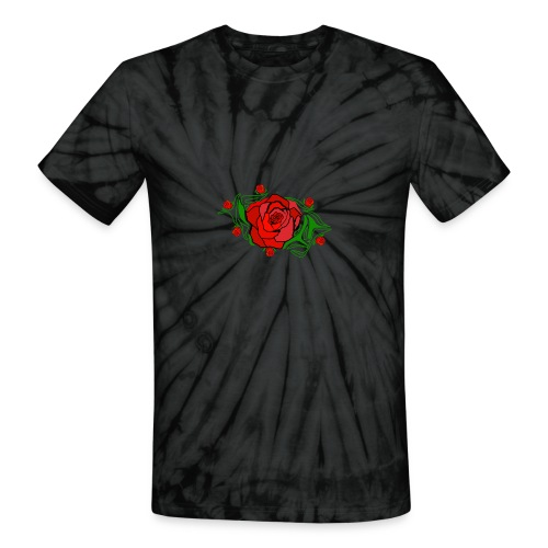 Simple Red Roses - Unisex Tie Dye T-Shirt