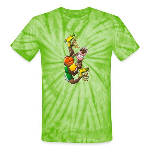 Acrobatic basketball player performing a high jump - Unisex Tie Dye T-Shirt