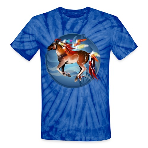 Horse N Bright Feathers Framed - Unisex Tie Dye T-Shirt