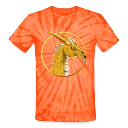 Gold Dragon Face Circle - Unisex Tie Dye T-Shirt