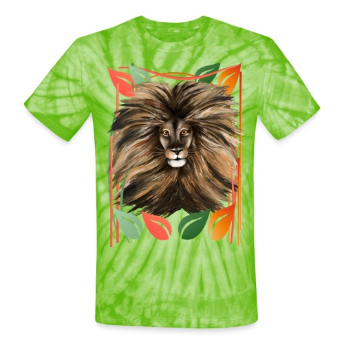 Big Cat and Colorful Jungle - Unisex Tie Dye T-Shirt