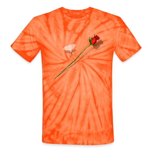 Shadowed Rose-White Butterfly - Unisex Tie Dye T-Shirt