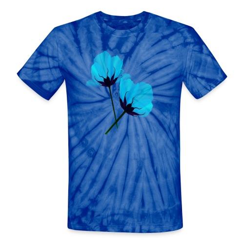 Two Electric Blue Flowers - Unisex Tie Dye T-Shirt