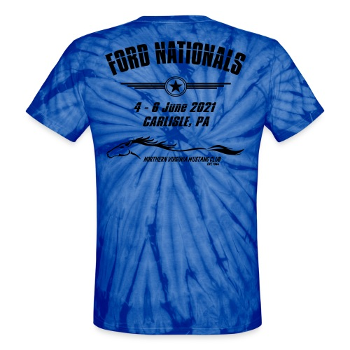Ford Nationals 2021 with Mustang Flag - Unisex Tie Dye T-Shirt