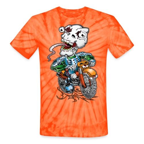 Skull-Tongued Dirtbiker - Unisex Tie Dye T-Shirt