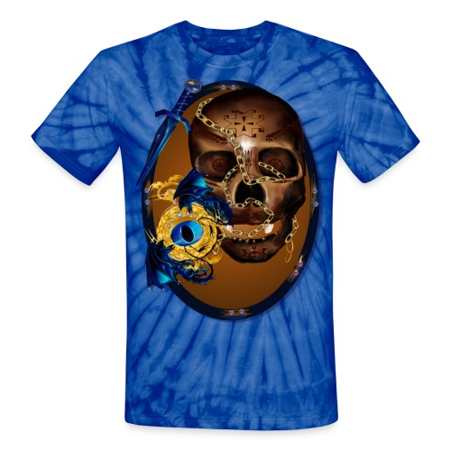 Oval-Dark Skull with Evil - Unisex Tie Dye T-Shirt