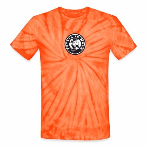 Solid Puttin' In Work Logo - Unisex Tie Dye T-Shirt