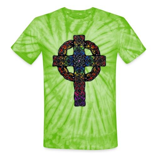 Celtic Cross rainbow - Unisex Tie Dye T-Shirt