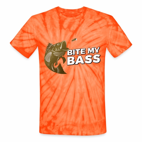 Bass Chasing a Lure with saying Bite My Bass - Unisex Tie Dye T-Shirt