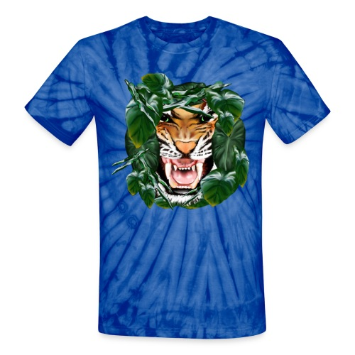 Tiger thru the leaves - Unisex Tie Dye T-Shirt