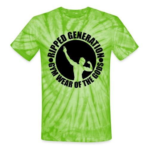 Ripped Generation Gym Wear of the Gods Badge Logo - Unisex Tie Dye T-Shirt