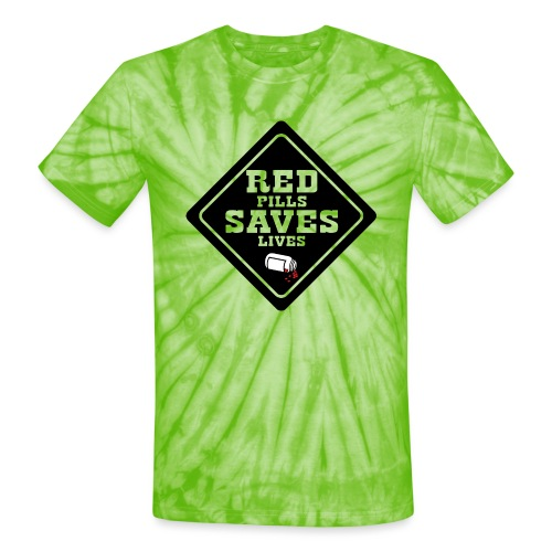 Red Pills Saves Lives Black - Unisex Tie Dye T-Shirt