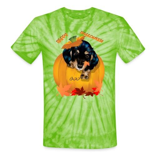 Halloween Dashund Puppy-Boo - Unisex Tie Dye T-Shirt