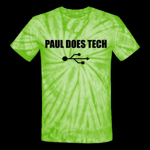 Paul Does Tech Logo Black with USB - Unisex Tie Dye T-Shirt