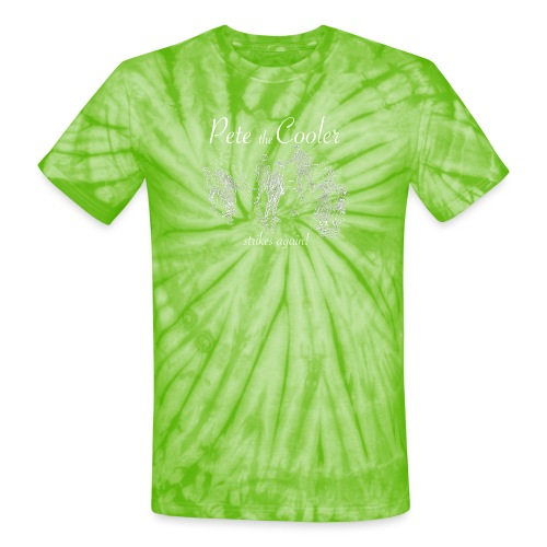 Pete the Cooler Strikes Again (white ink) - Unisex Tie Dye T-Shirt