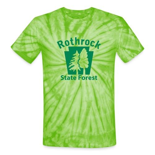 Rothrock State Forest Keystone (w/trees) - Unisex Tie Dye T-Shirt