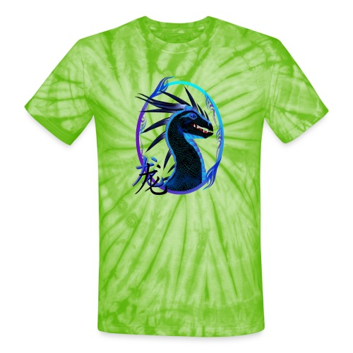 Horned Black Dragon and Symbol - Unisex Tie Dye T-Shirt