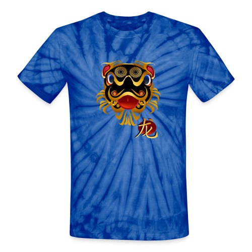 Black n Gold Chinese Dragon 's Face and Symbol - Unisex Tie Dye T-Shirt