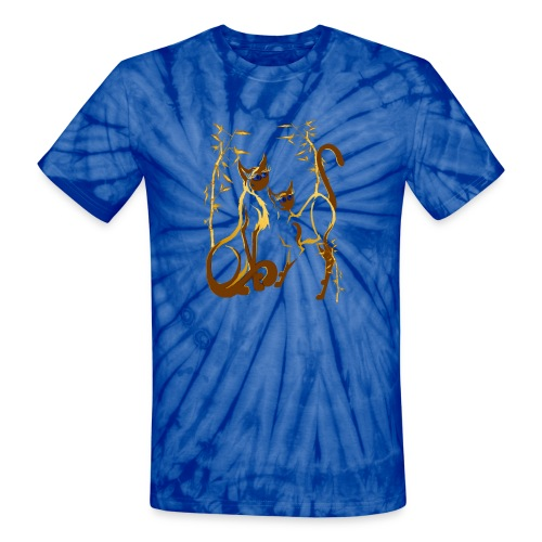 Two gold Siamese Kitties - Unisex Tie Dye T-Shirt