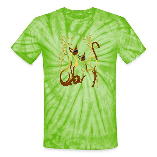 Two gold Siamese Kitties - Unisex Tie Dye T-Shirt