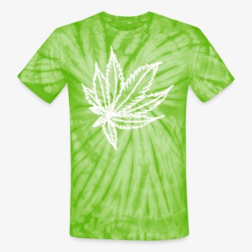 white leaf w/myceliaX.com logo - Unisex Tie Dye T-Shirt