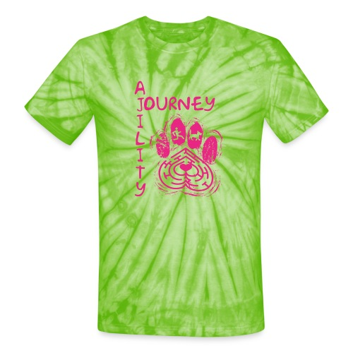 Journey Agility With Woot on Back - Unisex Tie Dye T-Shirt