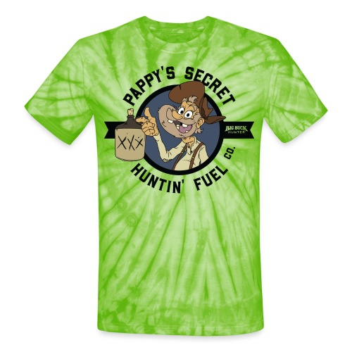 Pappy's Secret Hunting Fuel! - Black - Unisex Tie Dye T-Shirt