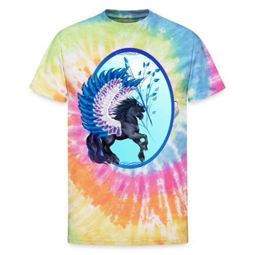 Blue Winged Pegasus Oval - Unisex Tie Dye T-Shirt