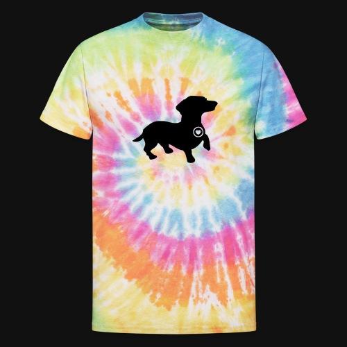 Dachshund love silhouette black - Unisex Tie Dye T-Shirt