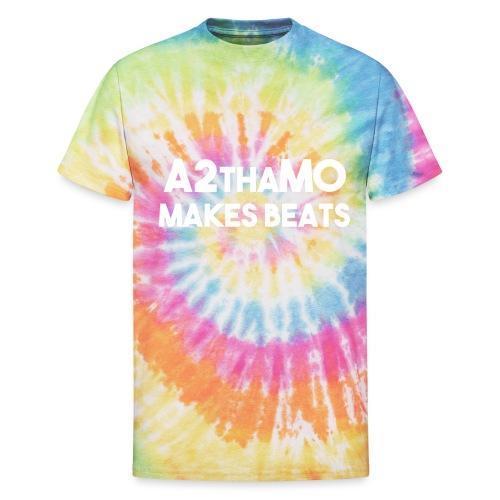 A2thaMoMakesBeats Logo White - Unisex Tie Dye T-Shirt