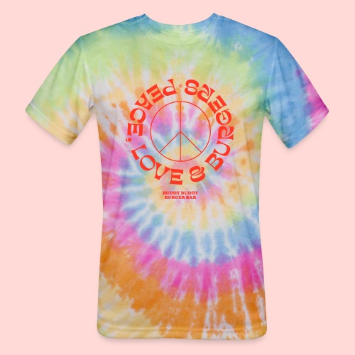 Peace, Love & Burgers - Unisex Tie Dye T-Shirt